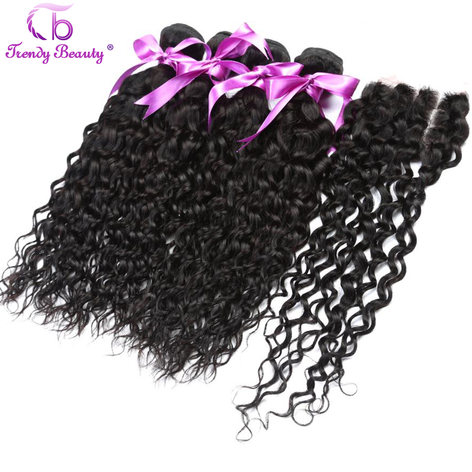 Peruvian water wave 4 bundles with closure middle free three part natural color hair from 8