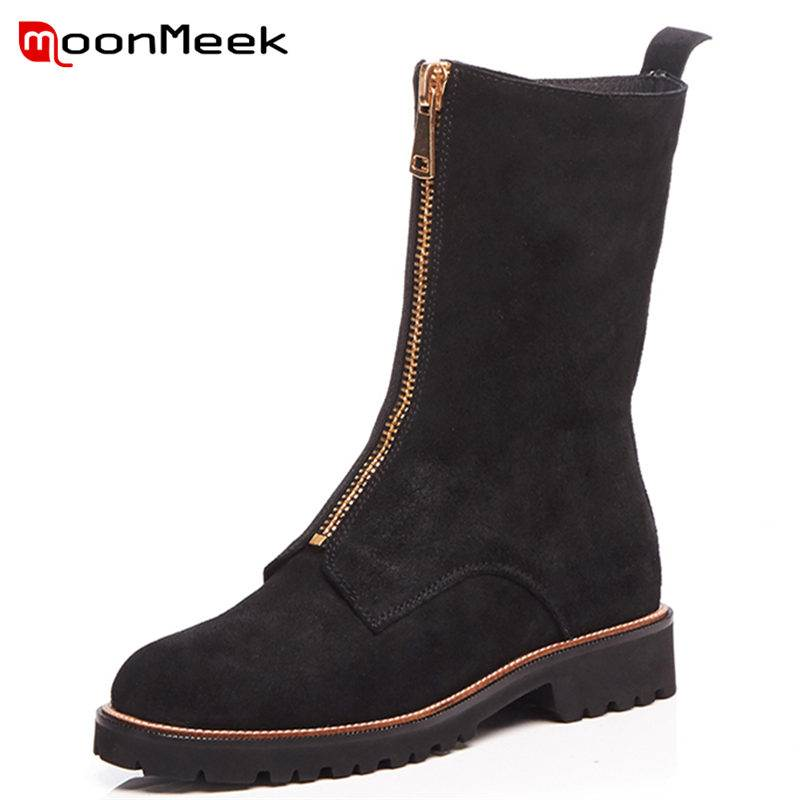 MoonMeek NEW 2018 fashion square med heel ankle boots women zipper cow suede leather round toe sewing winter boots