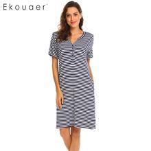 Ekouaer 100% القطن النساء ثوب النوم مخطط الحوامل ليلة اللباس قصيرة الأكمام زر V الرقبة فضفاض النوم اللباس الإناث Sleepshirts