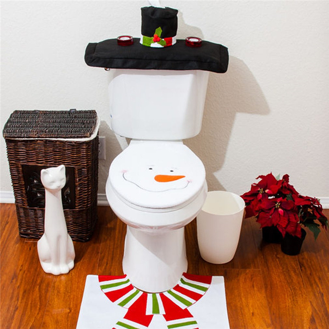 Christmas Decorations For Home Happy Santa Toilet Seat Cover Rug Bathroom Set Contour Papai Noel