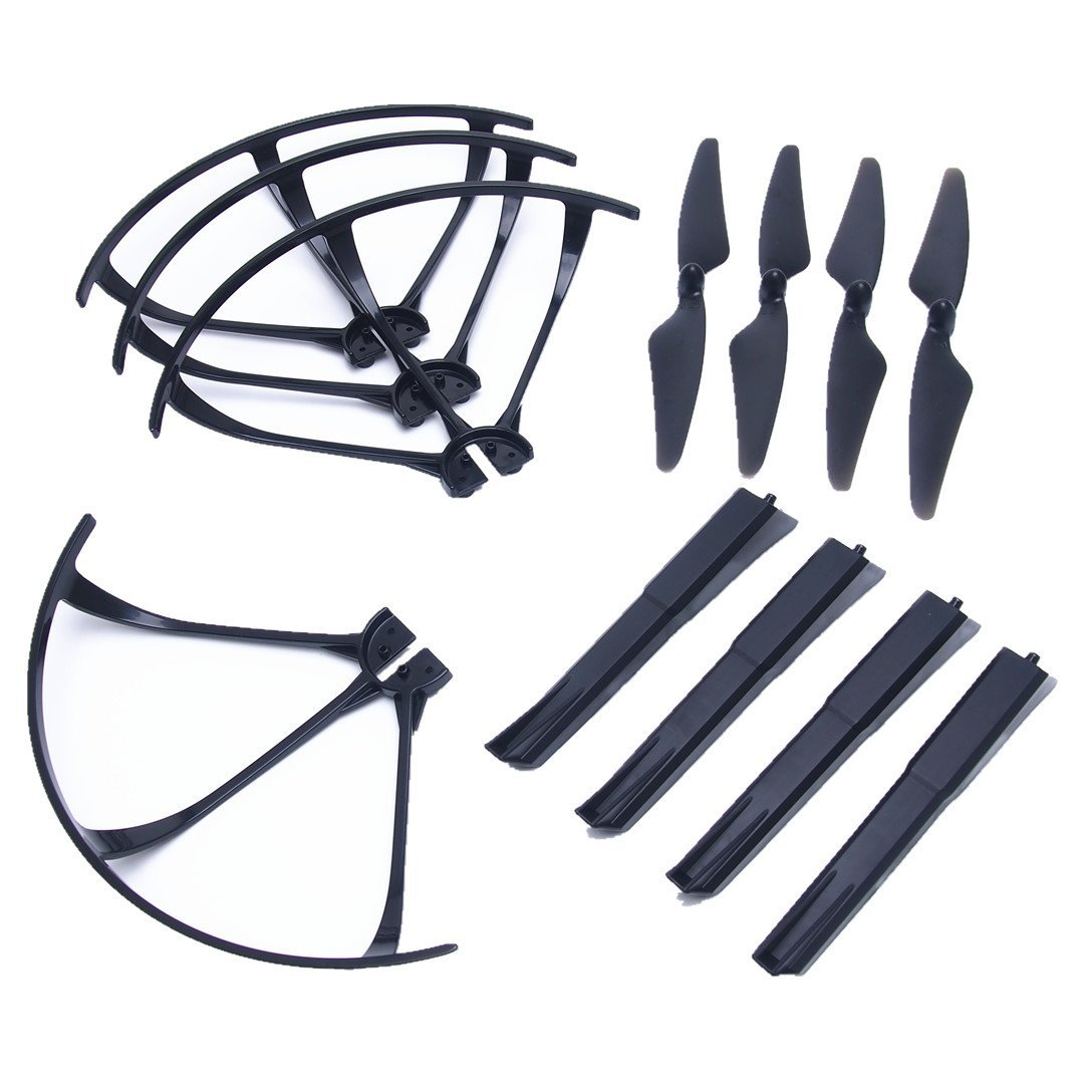 EBOYU(TM) 4pcs Main Blades Propellers + 4pcs Blades Guard Cover + 4pcs Landing Gear For MJX B3 Bugs3 RC Quadcopter Drone for yuneec typhoon h 480 drone a self locking propellers blades 3 pcs black