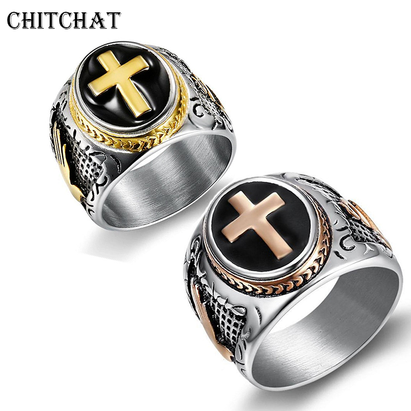 Men/'s Knight Templar Casque Cross acier inoxydable medieval crusader biker ring