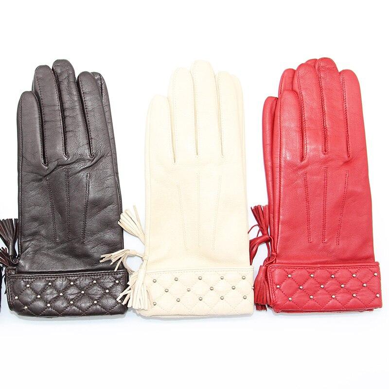 2020 Women Genuine Leather Gloves Red Black Goatskin Gloves Autumn Winter Fashion Ladies Windproof Warm Gloves Riding Ski