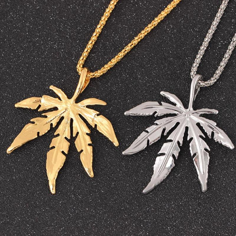 New Gold Silver Plated Small Herb Charm Necklace Maple Leaf Pendant Necklace Hip Hop Jewelry Fashion Unisex Women Men Leaf Chain