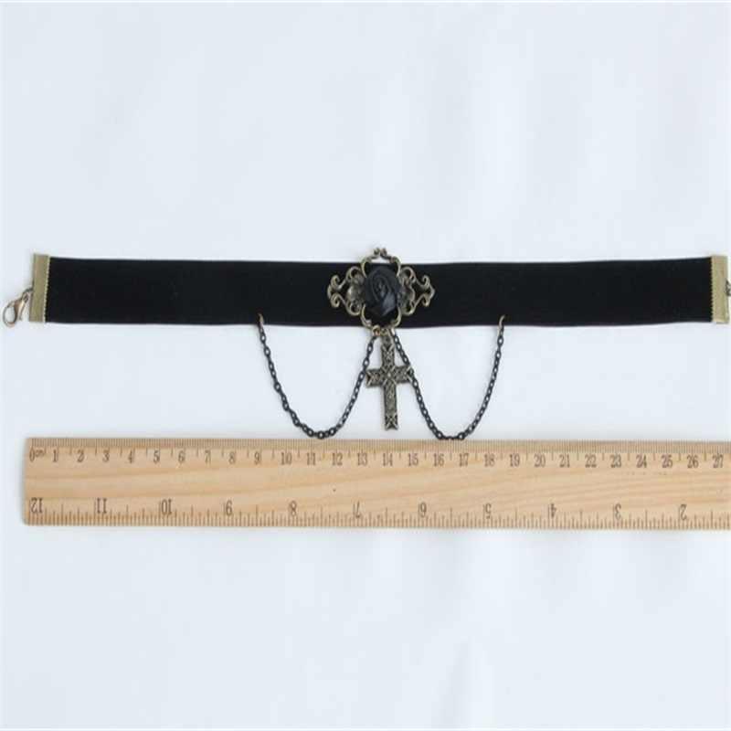 YiYaoFa croix collier Vintage collier ras du cou et pendentif jésus collier pour les femmes accessoires DD-18