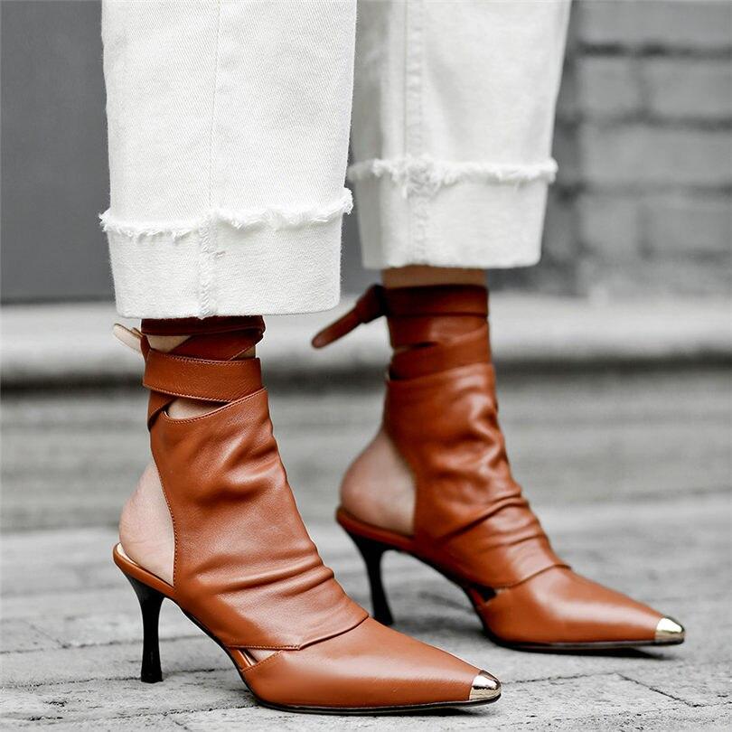 Chaussures Cuir Femmes À Nayiduyun Bracelet Sandales En Croix Romaine Pointu Soirée Métal blanc chocolat De Haut Cheville Spartiates Escarpins Bout Véritable Talon Lacets Noir wSdwqXnR7x