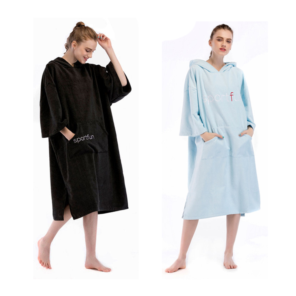 Beach Robe Poncho Hooded Towel for Men Women Sun UV Protection Swimming Suit