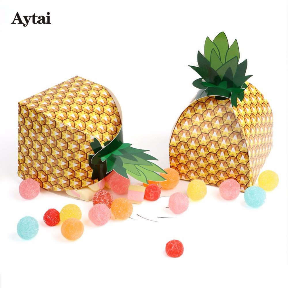 Aytai 24pcs Hawaiian Pineapple Favor Candy Box 9*9*17cm Tutti Frutti Birthday Tropical Party Decorations Gift Boxes