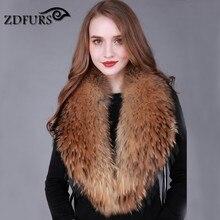 ZDFURS * Winter 100% Real Natural Raccoon Fur Collar  Women's  Coat Sweater Scarves Collar  Raccoon Fur Neck  warps ZDC-163002