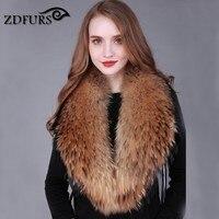 Zdfurs * شتاء 100% ريال الطبيعية الراكون الفراء طوق معطف سترة المرأة طرحة طوق الراكون الفراء الرقبة الإعوجاج ZDC-163002