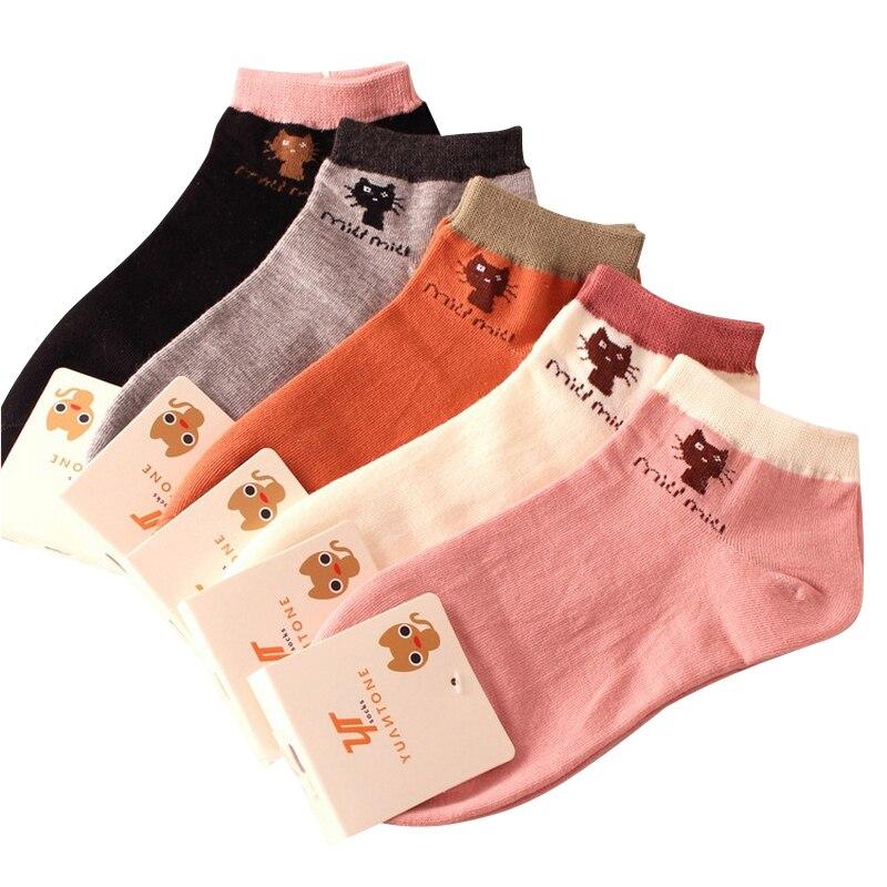 moterys vasaros mielas animacinių filmų kačių modelis medvilninės valties kojinės moteriškos mados kulkšnies kojinės moteriškos žemos kojinės 5parai / lot