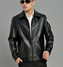 2016 spring black casual faux leather jacket mens PU leather jackets and coats male short coat father clothes large size 4XL