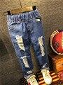 2016 Дети мальчики джинсы брюки осень модельер джинсы мальчик девушки джинсовые брюки повседневная рваные джинсы для мальчиков 2 ~ 6yrs бесплатная доставка