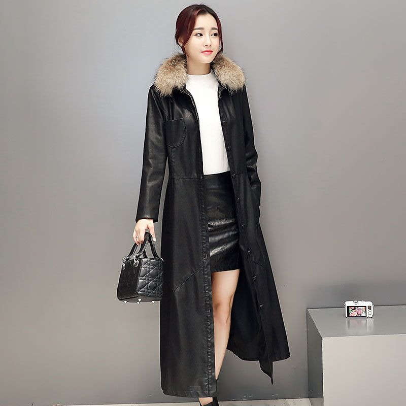 AYUNSUE 2017 Women Faux Leather Jacket Fur Collar Slim Elegant ...