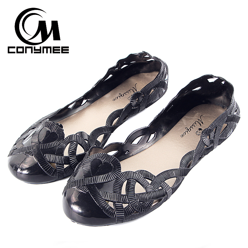 CONYMEE Summer 2018 Women Jelly Shoes Beach Sandals Hollow Out Ladies Girls Flats Flip Flops Tenis Feminino Casual Zapatos Mujer instantarts women flats emoji face smile pattern summer air mesh beach flat shoes for youth girls mujer casual light sneakers