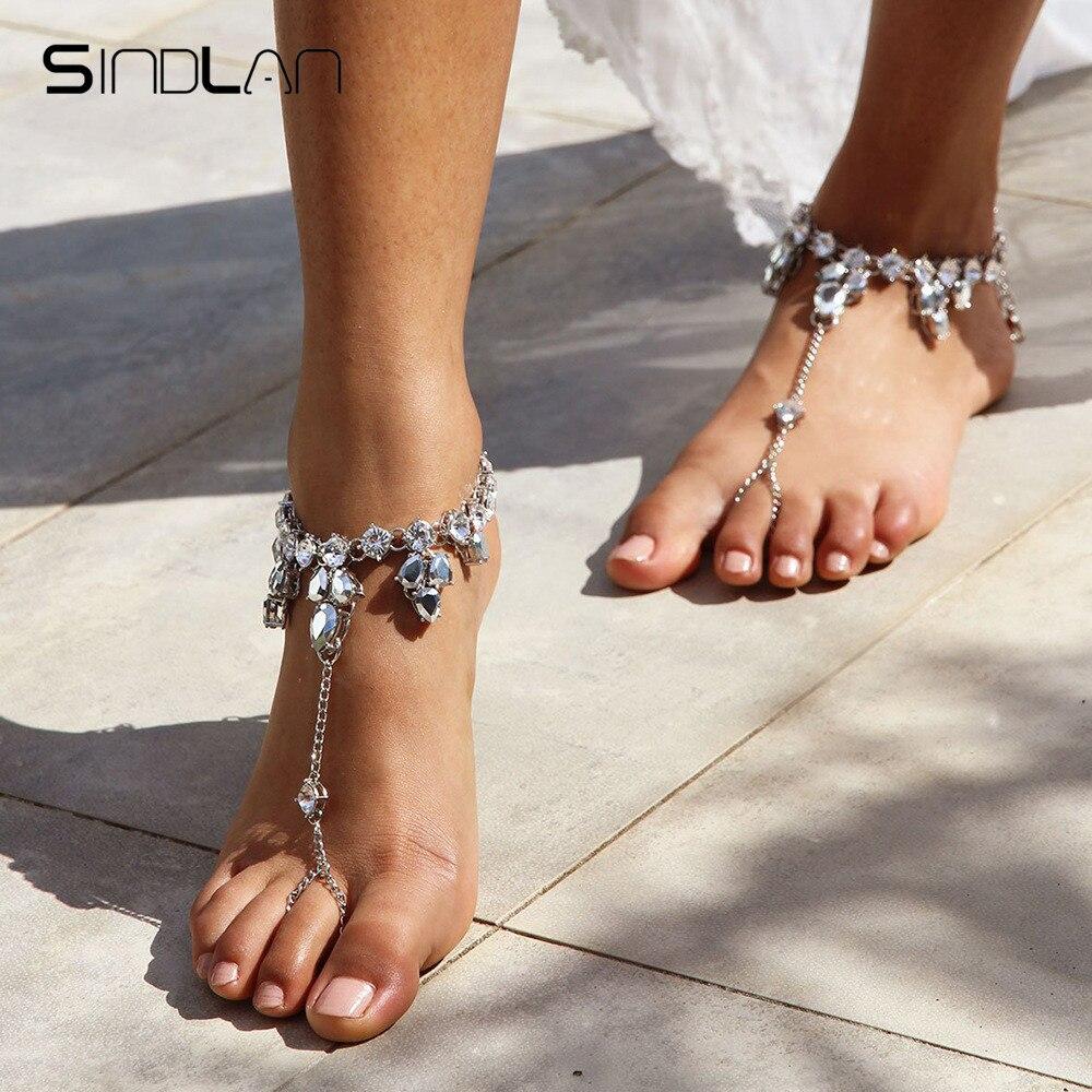 Sindlan 1PC Summer Crystal Anklets for Women Hyperbole Sandal Beach Footwear Leg Bracelet Ankle Chain Female Foot Jewelry