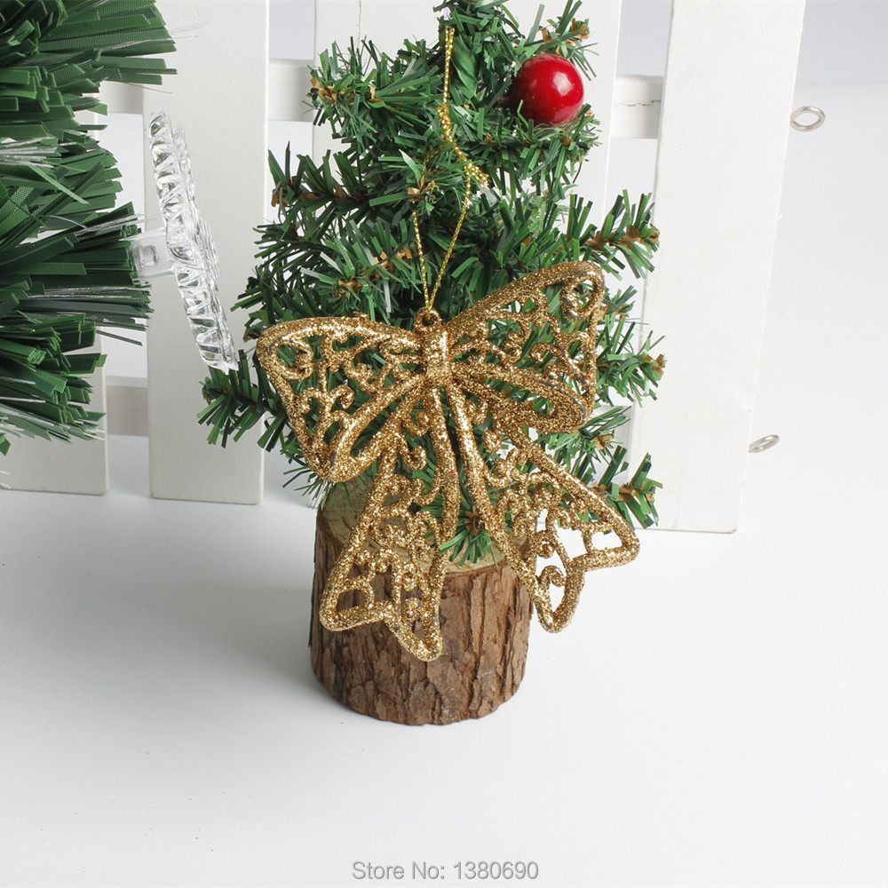 2pcs/bag Christmas Tree Decorations Supplies Christmas Hanging Glitter Powder Golden Bow-knot Elk New Year Party Decor for Home
