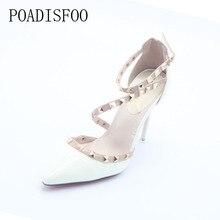 Poadisfoo Для женщин Обувь на высоком каблуке туфли-лодочки с острым носком вечерние пикантная обувь сандалии для женщины обувь с заклепками. ZWM-1138