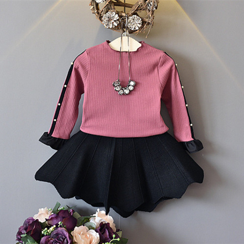 DFXD Toddler Girs Outfits 2017 Fashion Autumn Cotton Long Sleeve Bead Knitted Shirt+Plea ...