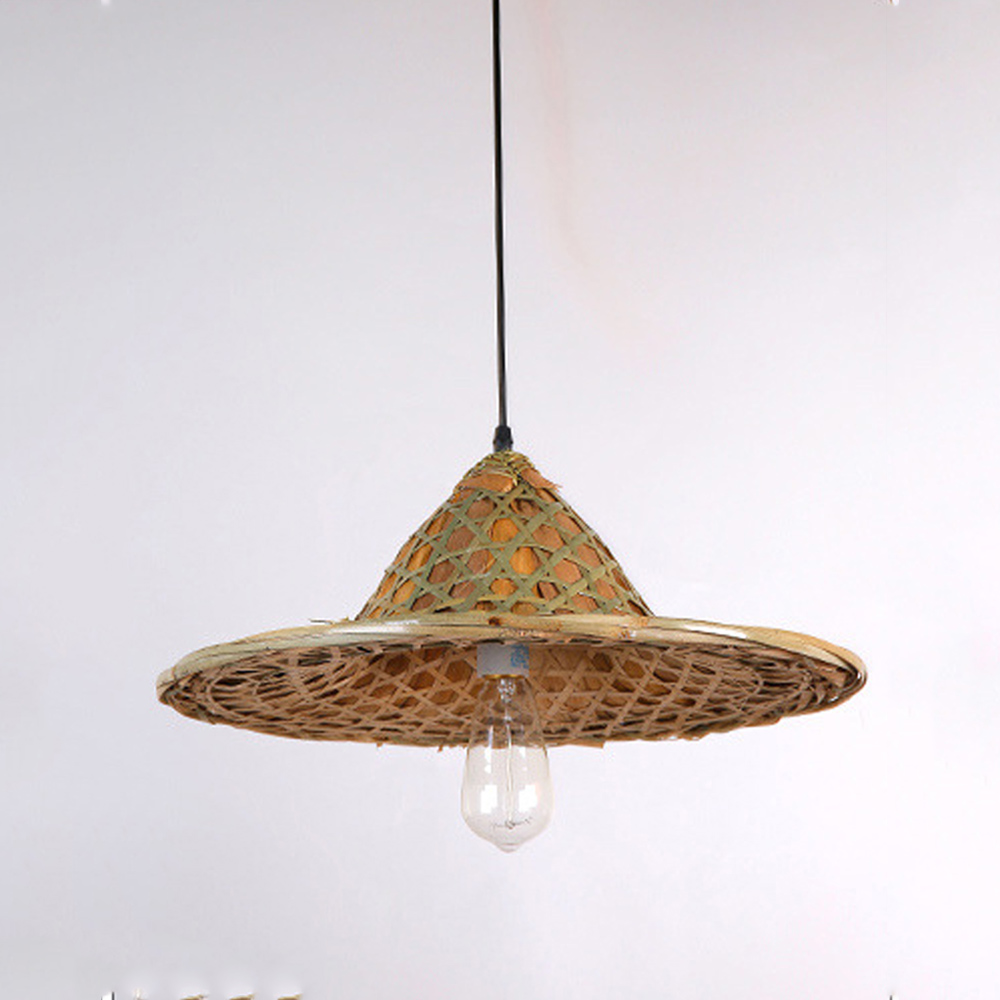 Farmhouse pendant lighting - Modern Art Pendant Lights Hanging Wood Lamps Dinning Room Restaurant Retro Fixtures Luminaire Hemp Bamboo Hats