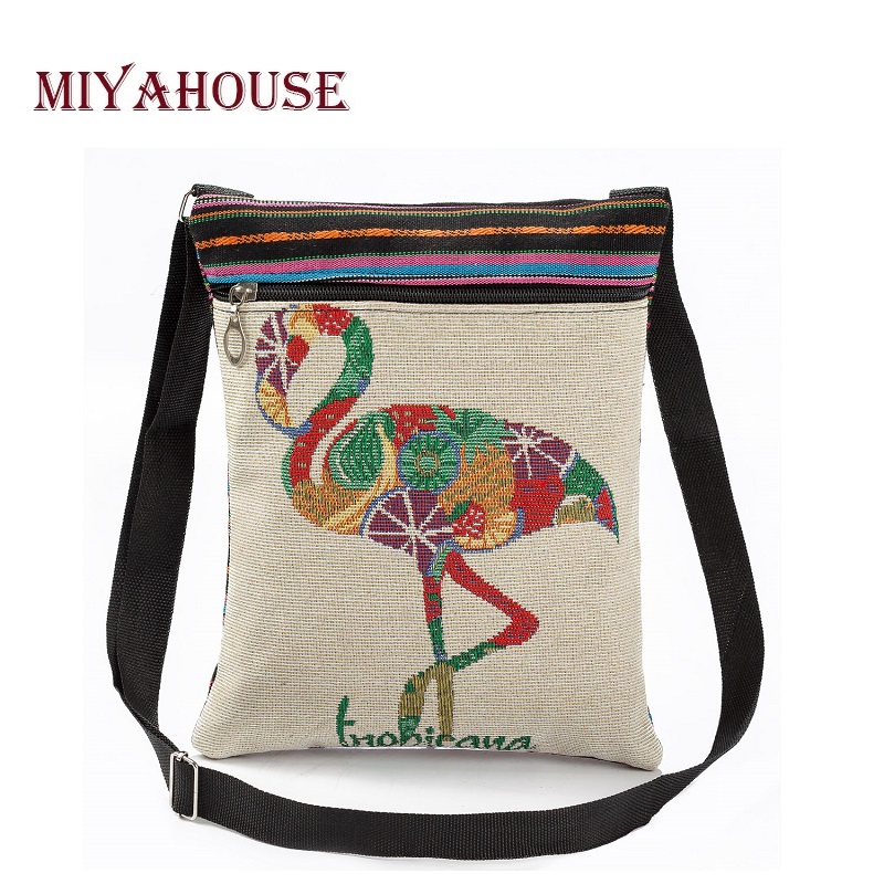 Miyahouse Casual Flamingo Printed Messenger Bag Women Canvas Design Crossbody Bag For Girls Small Flap Shoulder Bag Female