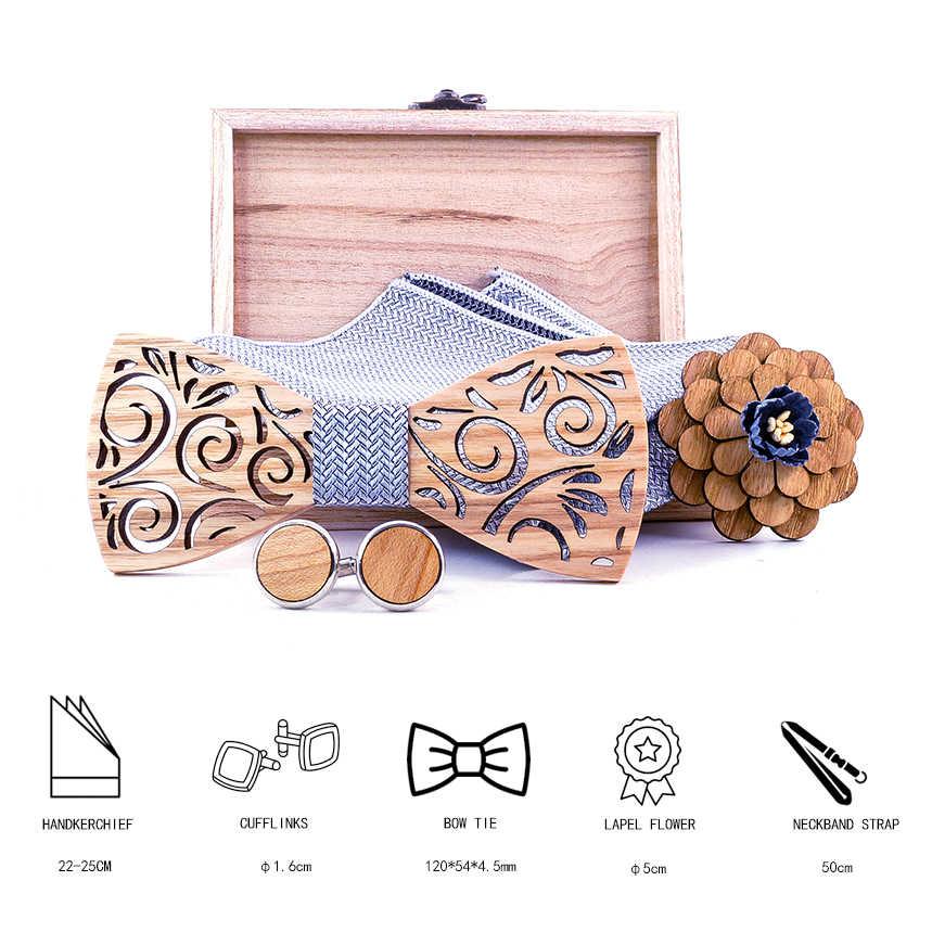 ไม้ Bowtie Handky Cufflinks ชุดไม้ Bow Tie Bow tie สำหรับงานแต่งงาน Ties พ็อกเก็ตสแควร์ผ้าเช็ดหน้า Cravat T297