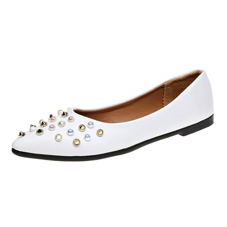 xiniu Women Spring Rivet Decoration Casual Shoes Female Pretty Square Heel Flat Pointed Toe Fashion Rivet Solid Summer Shoes cresfimix women cute spring summer slip on flat shoes with pearl female casual street flats lady fashion pointed toe shoes