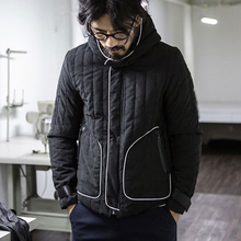 Winter men cotton padded jacket black hooded male parka white lines thick warm coat windproof zipper Outwear Casaco Masculino