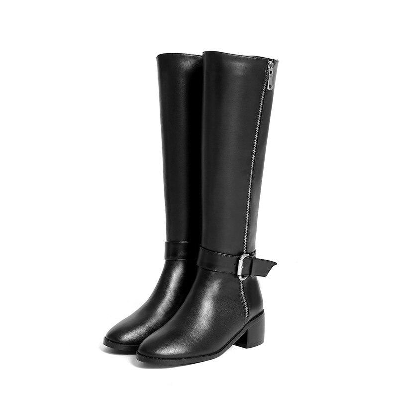 Cuir Bout Genou Top Femmes Chaussures Hiver Automne Boucle Qualité Noir Véritable Zip Haute Bottes brown En Dames Robe Rond 2018 Memunia I8wqSS