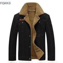 2420430329a FGKKS 2018 Для мужчин куртки зимние военные куртки-бомберы мужские Jaqueta  Masculina Модная Джинсовая куртка