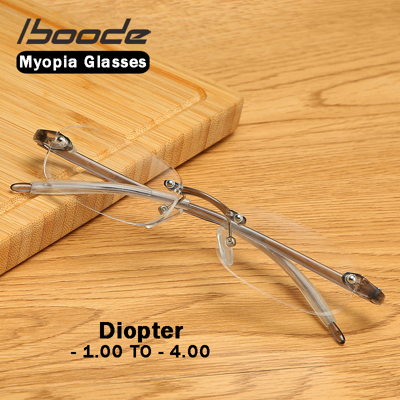 Iboode Myopia Glasses Finished Men Women Ultralight Rimless Eyeglassers Diopter -1 1.5 2.0 2.5 3.0 3.5 Shortsighted Nearsighted