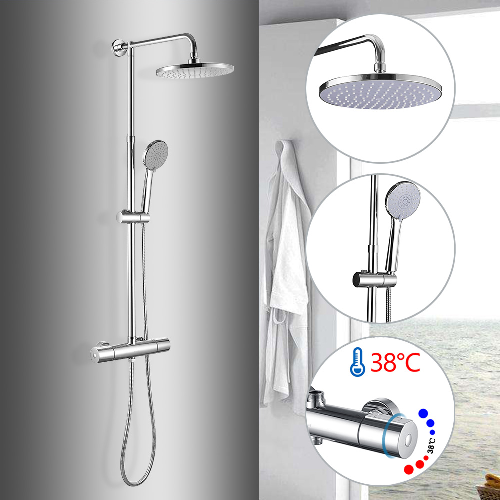 Bathroom Thermostatic Faucet Shower Set Bathtub Faucet Chrome Wall Mounted Tropic Rain Shower Shower Faucet Cold&Hot Water Mixer yanksmart wall mounted thermostatic faucet double handles faucet spout filler diverter chrome bathtub shower faucet valve mixer