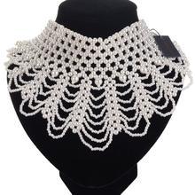 JEROLLIN Statement Necklace Women Jewelry Black/White Big Chunky Choker Handmade Beads Maxi Necklaces Collar New 2019