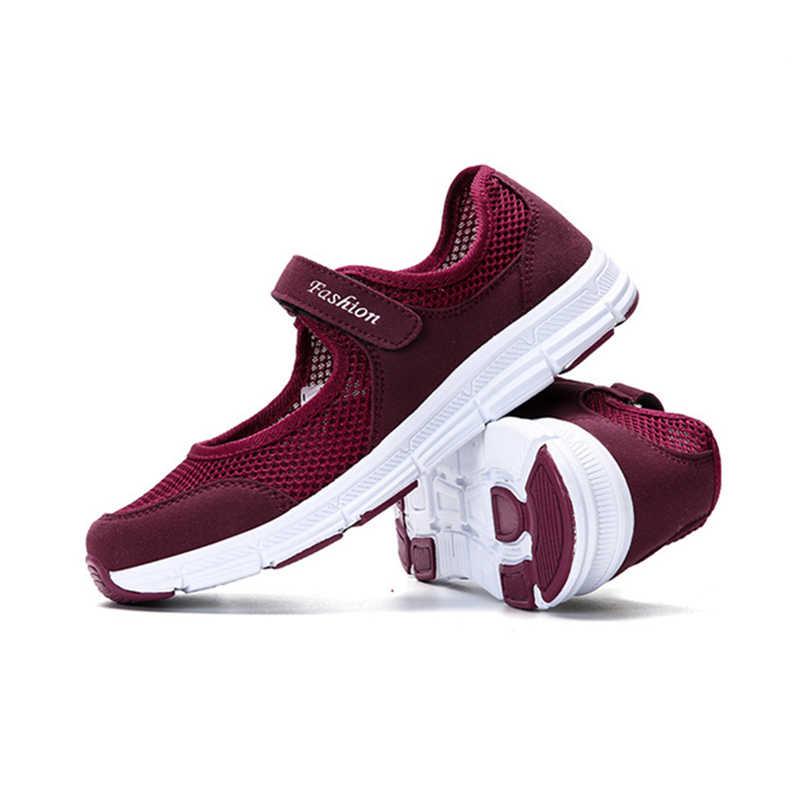 2019 חדש קיץ נשים נעלי אוויר רשת נעליים יומיומיות לנשים דירות רך תחתון סניקרס לנשימה גבירותיי נעלי נשים מוקסינים