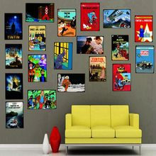 Tintin Cartoon Movie Tin Sign Metal Retro Vintage Pub Cafe Home Art Kids Room Wall  Decor Unique Gift Cuadros DU-2219