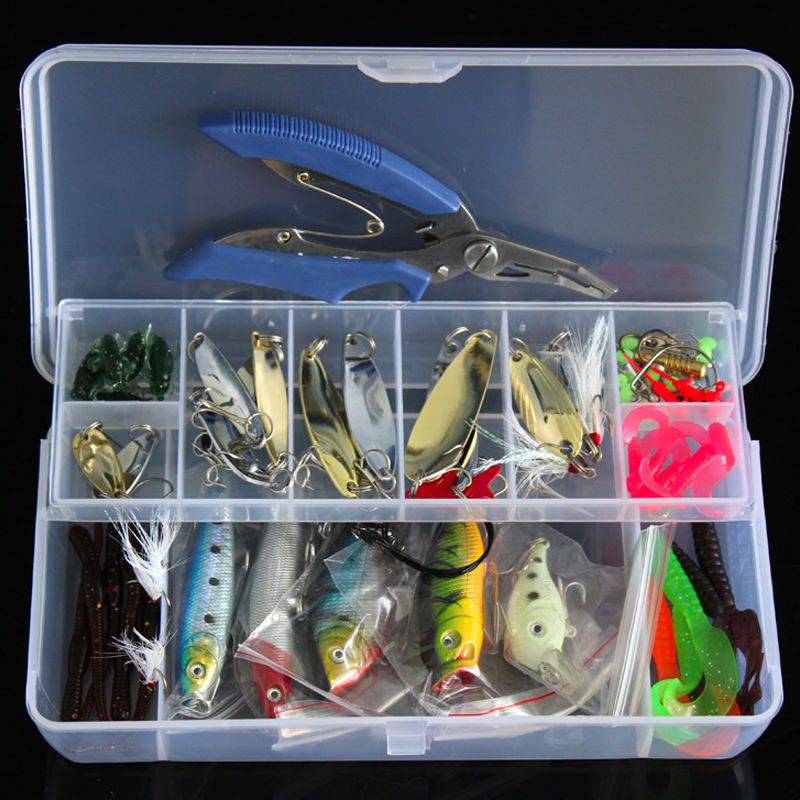 73pcs/100pcs/132pcs Fishing Lure Kit Mixed Minnow/Popper Spinner Spoon Lure With Hook Isca Artificial Bait Fish Lure Set Pesca goture 96pcs fishing lure kit minnow popper spinner jig heads offset worms hook swivels metal spoon with fishing tackle box