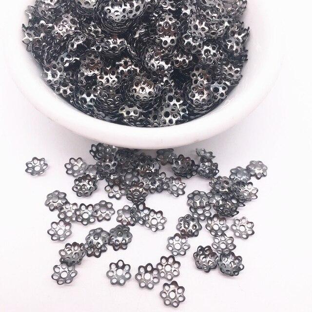 500 sztuk 6mm pistolet czarny z dziurką kwiaty ustalenia stożek koraliki końcowe Cap filigran DIY tworzenia biżuterii