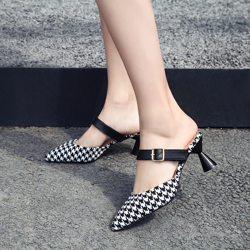 Moxxy Women Sexy High Heel Mules Clogs Black Pointed Toe Platform