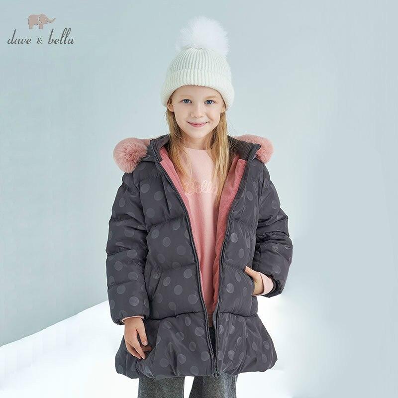 DBK8308 dave bella bebê meninas para baixo crianças jaqueta de inverno 90% para baixo casaco acolchoado crianças casacos com capuz de pele com grande
