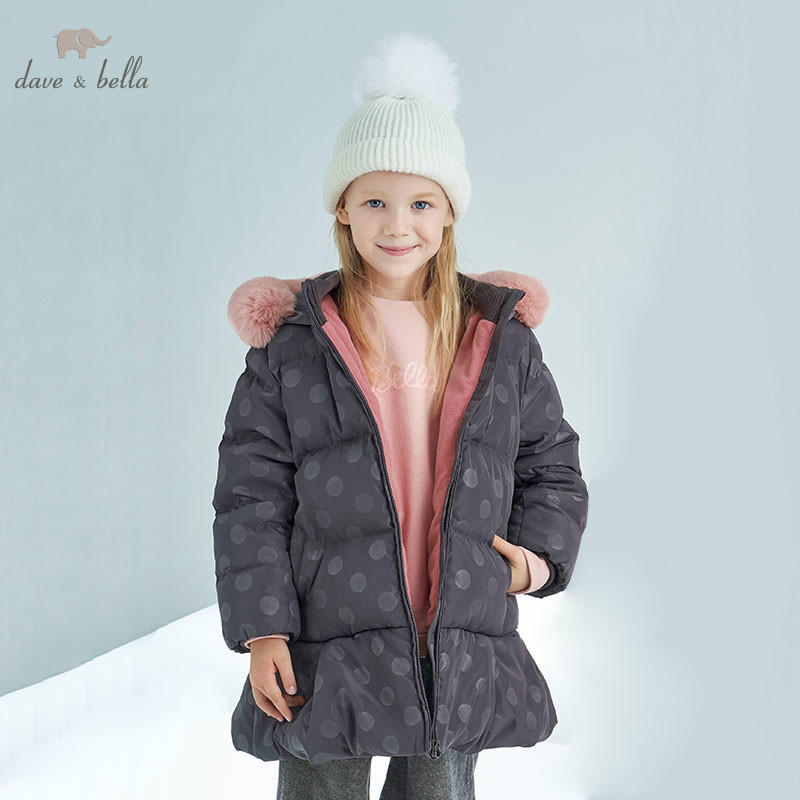 DBK8308 dave bella winter baby girls down jacket children 90% down padded coat kids hooded outerwear with big fur цена 2017