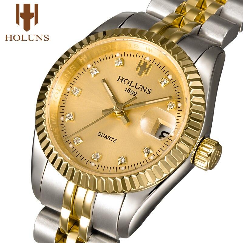Holuns 여성 시계 2019 숙녀 브랜드 럭셔리 골드 여성 쿼츠 다이아몬드 시계 방수 복장 relogio feminino 베스트 셀러-에서여성용 시계부터 시계 의  그룹 1