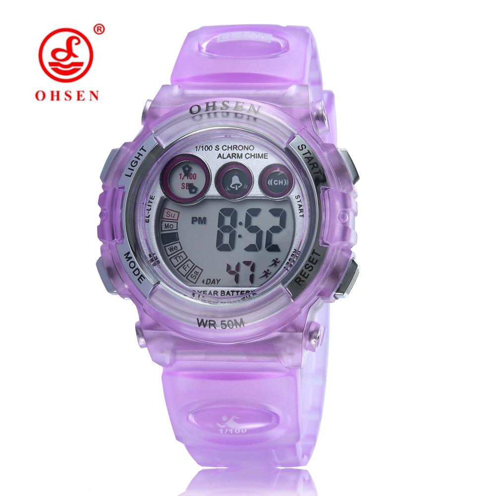 New OHSEN Digital LCD Purple Cute Girl Kids Wristwatch Rubber Strap 50M Waterproof Children Fashion Sport Watch Alarm Hand Clock
