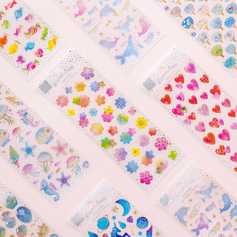 Dream Unicorn Crystal Transparent Bullet Journal 3D Decorative Stickers Adhesive Stickers DIY Decoration Diary Stickers
