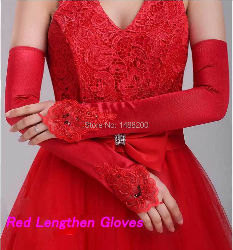 New Luvas De Noiva Red White Ivory Lace Gloves Beaded Satin Bridal Gloves Hook Finger Lengthen Gloves Wedding Accessories