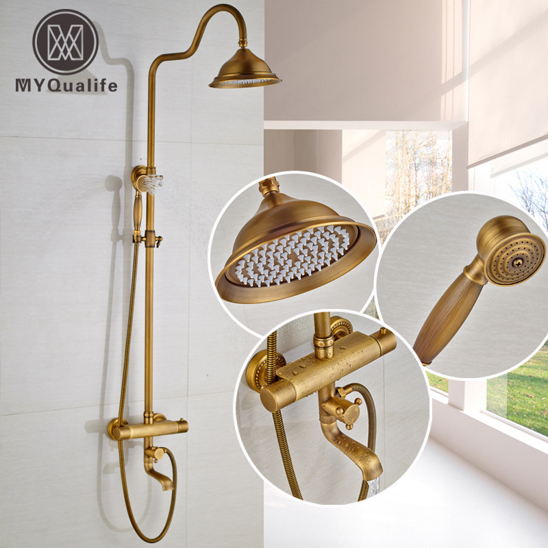 "Brass Thermostatic Shower Faucet Mixing Valve Dual Handle: Antique Brass Dual Handle 8"" Rainfall Shower Set"
