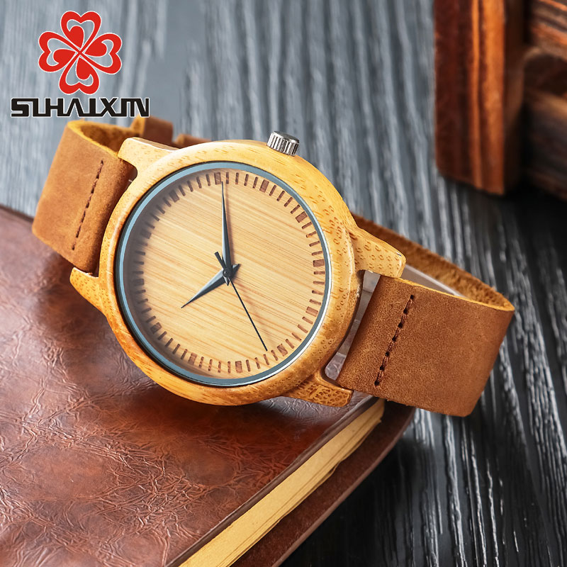 Bamboo Wood Watches Women Dress Quartz Wristwatch Leather Strap Watch Men's Fashion Luxury Brand Retro Relojes Hombre Male Clock designer special dial unisex leather strap watches brand korea women men quartz dress wristwatch fashion students relojes nw4552