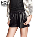 HDY Haoduoyi Solid Black Shorts Women Mid Waist Slim Zippers Female Leather Shorts Loose Double Pockets Casual Short Pants