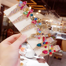 1pc 2 Styles Bling Colorful Rhinestone Hairpin Girl Hair Clips Women Barrettes Ladies Pentagram Butterfly Accessories