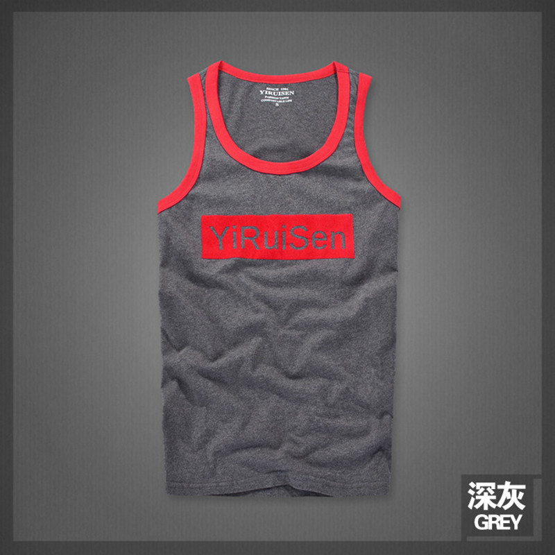 2018 mens vest, tide brand, summer cotton neck sweater, shoulder vest, loose young printed breathable sleeveless T-shirt.
