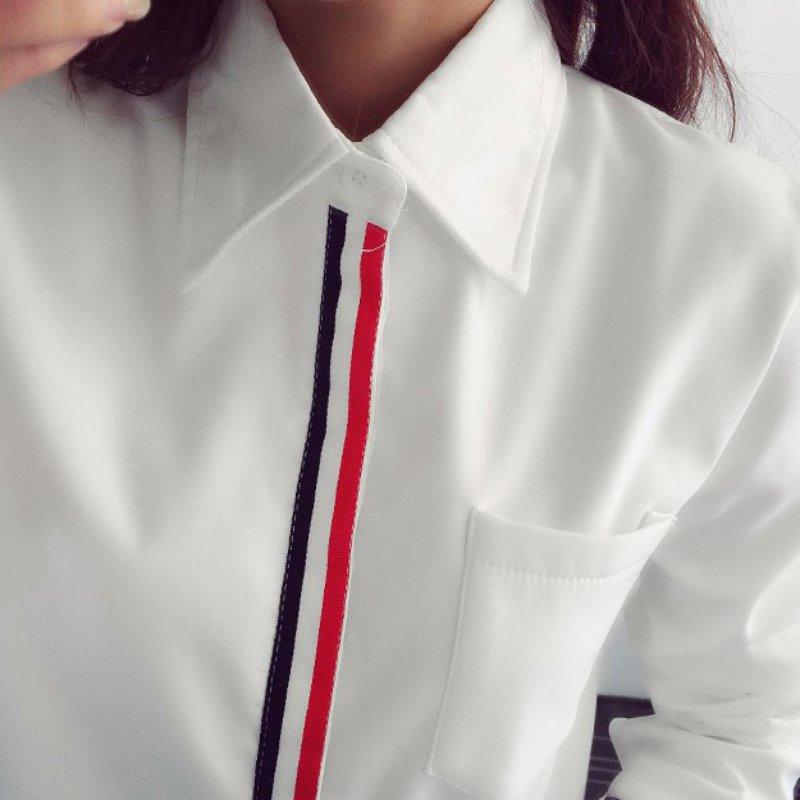 Fesyen OL Striped Long Sleeve Lapel Shirt Button kasual Down Tops - Pakaian wanita - Foto 3